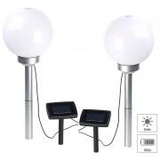 Lunartec 2er-Set Solar-LED-Leuchtkugeln, rotierender Effekt, Erdspiess, Ø 20 cm