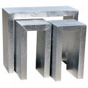 Moc Croc Silver Embossed Set of Three Nesting Tables