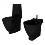 Black Ceramic Toilet & Bidet Set