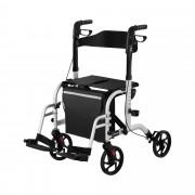 Rollator Wheelchair 2-in-1 - silver - 136 kg