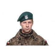 Beret tłoczony wojskowy zielony z orzełkiem