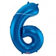 6. szám, fólia lufi, 86 cm, kék