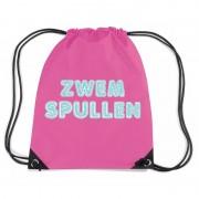 Bellatio Decorations Zwemspullen rugzakje / zwemtas met rijgkoord fuchsia roze