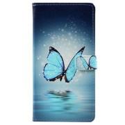 Huawei P10 Plus Glam Series Wallet Case - Blauw Vlinder