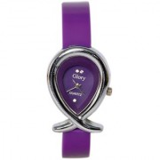 Oval Dial Purple Leather Strap Womens Quartz Watch