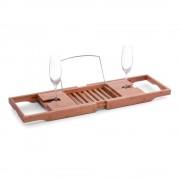 Zeller Present Houten badrek uitschuifbaar met 2 wijnglashouders en verchroomde boekensteun