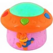 Lampa de veghe si proiectie LED pentru copii senzor voce roz/portocaliu