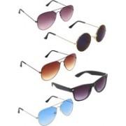 Zyaden Aviator, Aviator, Aviator, Wayfarer, Round Sunglasses(Violet, Brown, Blue, Blue, Black)