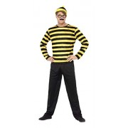 Smiffy's Men's Where's Wally Odlaw Costume, Top, Trousers, Hat, Moustache & Glasses, Size: L, Colour: Black and Yellow, 41309