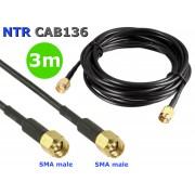 NTR CAB136 SMA dugó - SMA dugó WiFi antenna összekötő kábel (RG174 50ohm) 3m