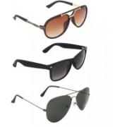 Zyaden Rectangular, Wayfarer, Aviator Sunglasses(Brown, Black, Black)