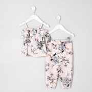 River Island Mini girls floral top and joggers outfit