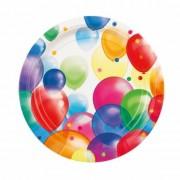 Geen 8x Wegwerpbordjes met feestelijke ballonnenopdruk karton 23 cm
