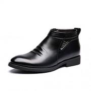 XIANGBAO Botas de Invierno de los Hombres de Vlevet Retro cómodos Zapatos de Nieve de Cuero de la Cremallera cómoda para Caballeros (Color : Negro, tamaño : 8.5 MUS)