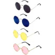 SRPM Round Sunglasses(Black, Blue, Yellow, Pink)