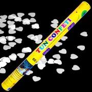 Tun de confetti 60 cm cu inimioare albe 1 buc
