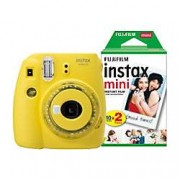 Fuji Instant Camera Instax Mini 9 Clear Yellow + 1 x 20 shot mini film pack