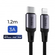 BENKS M16 1.2m [PD Fast Charge] [MFI Certified] Type-C to Lightning 8 Pin Data Sync Charging Cable