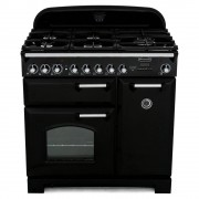 Rangemaster CDL90DFFBL/C Classic Deluxe Gloss Black 90cm Dual Fuel Range Cooker