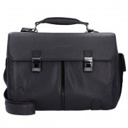 Piquadro Black Square Business Tasche Leder 43 cm Laptopfach dunkelbraun