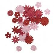 Rayher hobby materialen Papieren hobby bloemen 108 stuks rood/roze