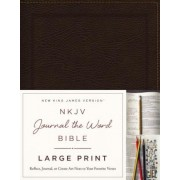 NKJV, Journal the Word Bible, Large Print, Bonded Leather, Brown, Red Letter Edition: Reflect, Journal, or Create Art Next to Your Favorite Verses, Hardcover