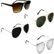Sulit Aviator, Rectangular, Wayfarer Sunglasses(Brown, Black, Green, Silver)