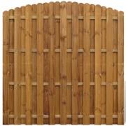 vidaXL Вертикална ограда от дървени панели със сводест дизайн