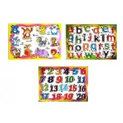 Babytintin Set of 3 Wooden Learning Puzzle Boards Learn Shapes Numbers Animals Fruits Vehicles Wooden Puzzles for Kids (Set of 3) (B)