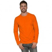 Lemon & Soda Basic stretch shirt lange mouwen/longsleeve oranje voor heren
