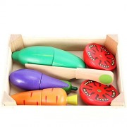 Amyove Simulate Food Wooden Kitchen Food Vegetable Fruit Cutting Toys Kids Pretend Play Educational Toy Cook Cosplay for Children Vegetables Set