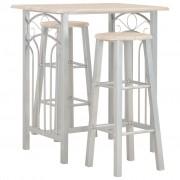 vidaXL Set mobilier de bar, 3 piese, lemn și oțel