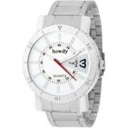 howdy Analog White Dial Stainless Steel Strap Watch for Men's ss532