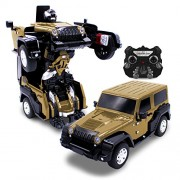 Kids RC Toy Car Transforming Robot Toro Gold One Button Transformation Engine Sound Dance Mode 360 Spinning Speed Drifting 2 Band 2.4 GHz Remote Control RC Vehicle Toys for Children