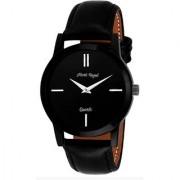 Mark Regal Round Dial Black Leather Strap Quartz Watch For Mens