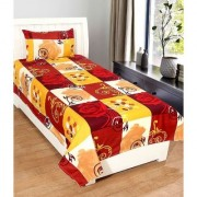 craftwell flowers on big(red yellow white) boxes 3d single bedsheet with 1 pillow cover