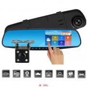 Camera Auto Oglinda Offroad Zenteko Full HD TouchScreen SMCM96 + Tripla Auto USB, Card Memorie MicroSD 32GB