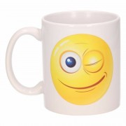 Bellatio Decorations Knipogende smiley mok / beker 300 ml