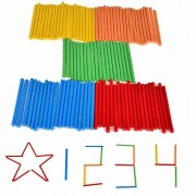 100pcs Children's Baby Learning Game Stick Bar Counting Rod Math Arithmetic Montessori Teaching Aids Green Red Yellow Blue
