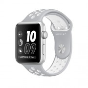 APPLE APPLE WATCH NIKE 38MM SILVER ALUMINIUM CASE WITH FLAT SILVER/WHITE NIKE SPORT BAND