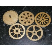 Alloy wheel pattern wooden laser cut coasters set.