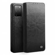 QIALINO Luxury Genuine Leather Cover Wallet Phone Case for Samsung Galaxy S20+ 5G - Black