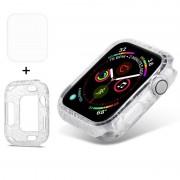 Apple ENKAY Hat-Prins 2 in 1 diamant Texture TPU semi-geklede beschermende Shell + 3D volledig scherm PET gebogen warmte buigen HD Screen Protector voor Apple Watch serie 4 44 mm