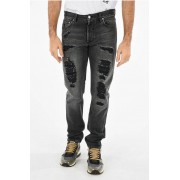 Alexander McQueen Jeans Stone Washed Distressed 17cm taglia 50