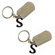 eshoppee S letter alphabet high quality metal keyring key chain for man and women set of 2 pcs (S alphabet)
