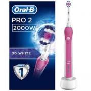 Електрическа четка за зъби Oral-B 2 2000W, 3D White почистване, Сензор за налягане, Бял/Розов