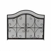 Noble House Pendleton Modern Black and Gold Three Panel Iron Fire Screen with Door