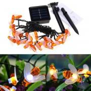 bee Solar Powered 5M 20LEDs Waterproof Honey Bee Fairy String Light for Garden Yard Christmas