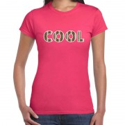 Bellatio Decorations Cool tekst t-shirt roze dames slangenprint