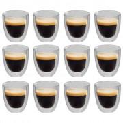 vidaXL Double Wall Thermo Glass for Espresso Coffee 12 pcs 80 ml